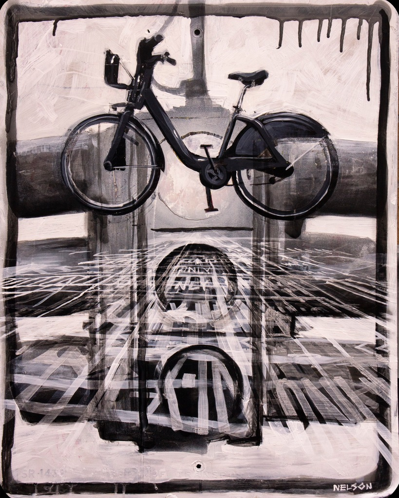 bike_lane_no2_2015_24x30_acrylic and spraypaint on street sign