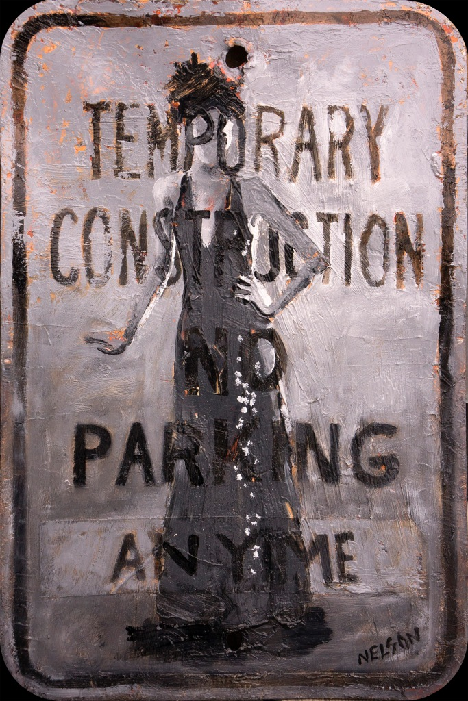 temporary_construction_2015_12x18_oil on street sign